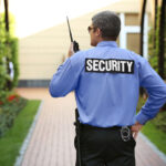 Security guard protecting outdoor property